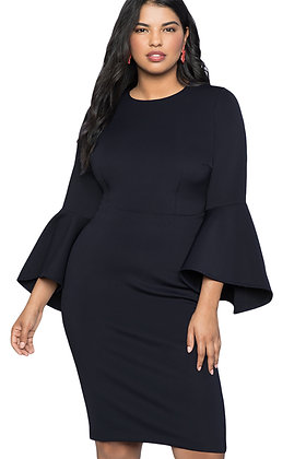 Bell Sleeve Knee Length Dress-Dark Navy Blue