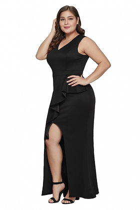 Ruffle Enchantment Dress-Black