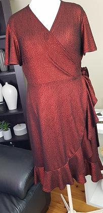 Red Foil Stretch Wrap Dress