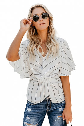 Twist Front V- Neck Twist Front Top With Short Sleeve -White