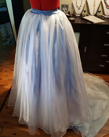 Chiffon Skirt with blue satin undelay