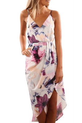 White With Pink Floral Draped Front Split Dress