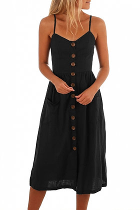 Spaghetti Straps Button Front Summer Dress-Black