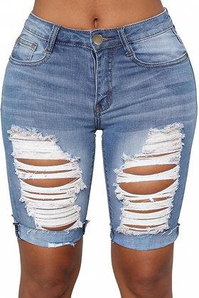 Blue Denim Destroyed Bermuda Shorts