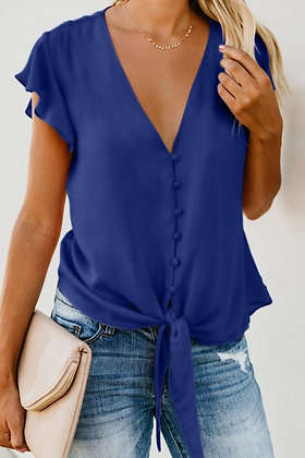 Blue Forever Tonight Butterfly Sleeve Button Down Tie Top