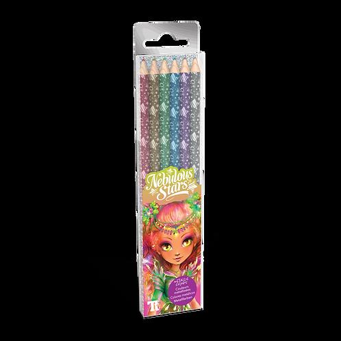 Wooden Color Pencils 6-pack - Metallic Colors
