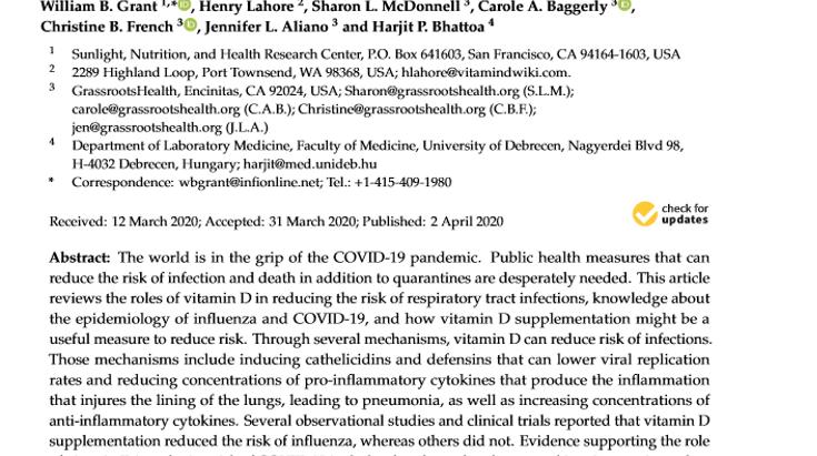 Suplementación con vitamina D podría reducir el riesgo de infección y muerte por COVID-19