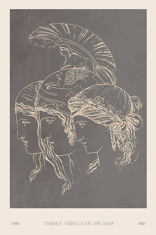 THREE GRECIAN HEADS