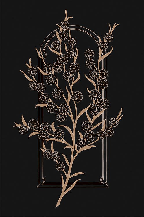 FLOWER WALL BLACK