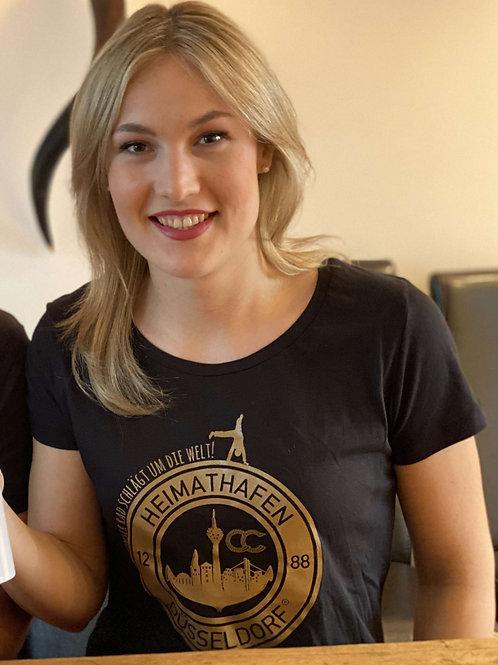 """T-Shirt Frauen Karnevalssession 2020 Motto """"Unser Rad schlägt um die Welt"""""""