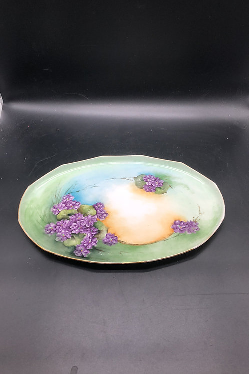 Antique MZ Austria Violet Dresser Tray