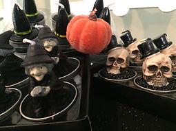 FAll tablescape Halloween tea light candles