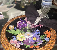 Tablescape Black and purple floral
