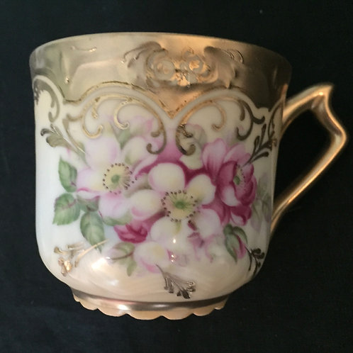 Pink & Gold Floral Mustache Mug