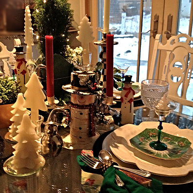 Table Glamour Winter  Table Setting Snowmen white trees