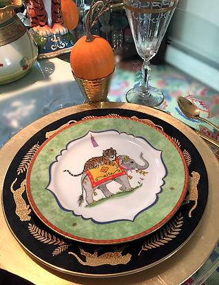 Fall Tablescape with animal motif Lynn Chase china