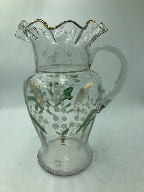 Hand Painted Ruffled Victorian Lily of Valley Glass Pitcher
