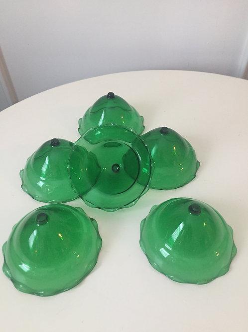 Emerald Glass Shrimp Cup Inserts (6)