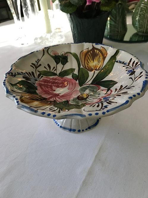 Italian Floral Pedestal Plate