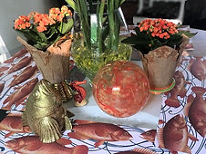 Fall Tablescape Centerpiece Orange Witch's Ball and fish theme