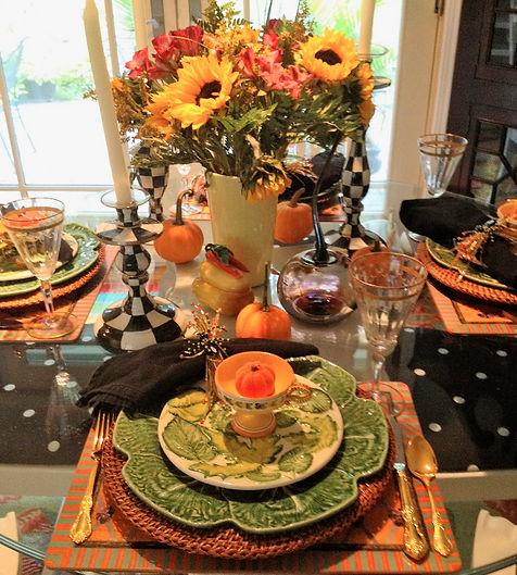 Fall Tablescape, pumpkin candle tea lights Orange
