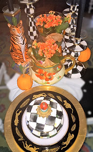 Fall Tablescape black white and orange mixing patterns