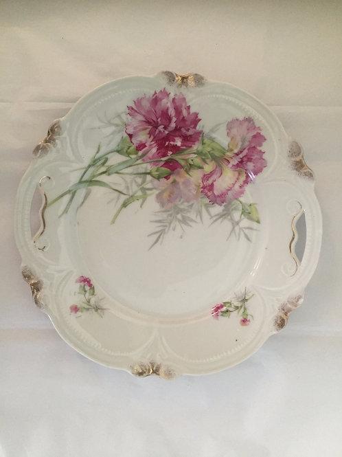 Vintage Pink Carnation Plate w/ Handles