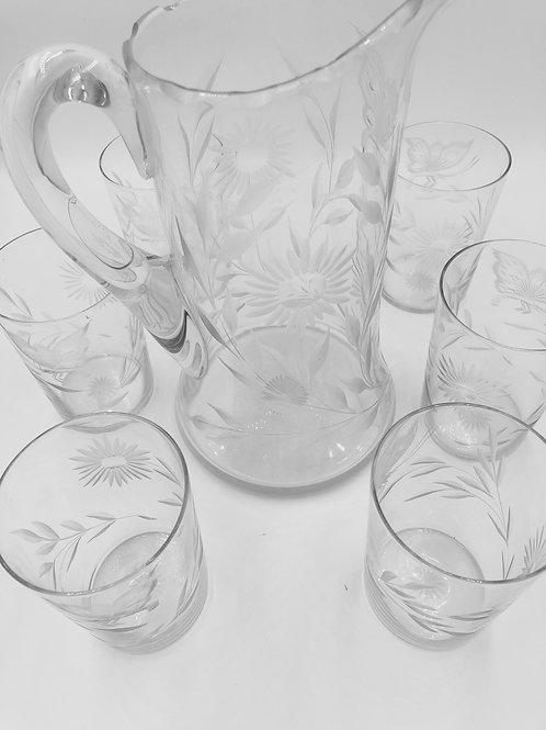 Victorian Etched Pitcher & Glasses (6)