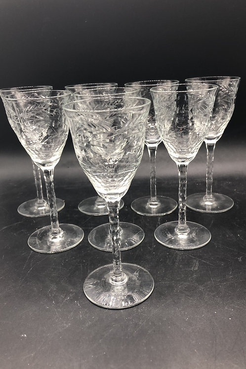 Cordial/Sherry Etched Glasses (8)