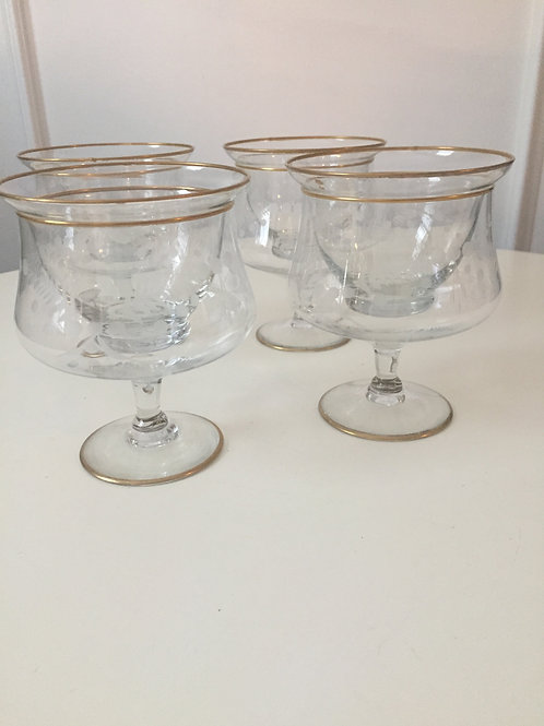 Vintage Etched Shrimp Cups w/Inserts (4)