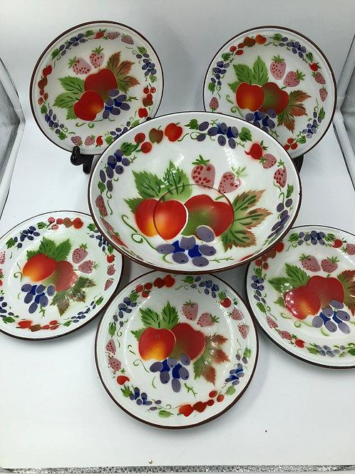 Farmhouse Enamelware Bowl, Plates (6)