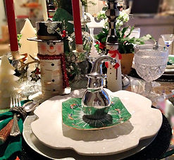 Winter Christmas Tablescape Snowmen and antiques
