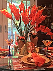 Fall tablescape with orange and paper place mats