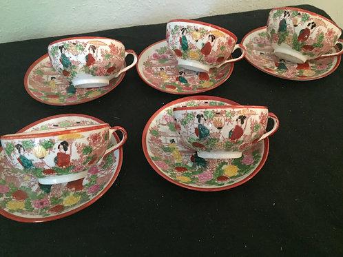 Geisha Girl Cups & Saucers (5)
