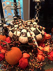Fall Tablescape for Halloween Black and White pumpkins