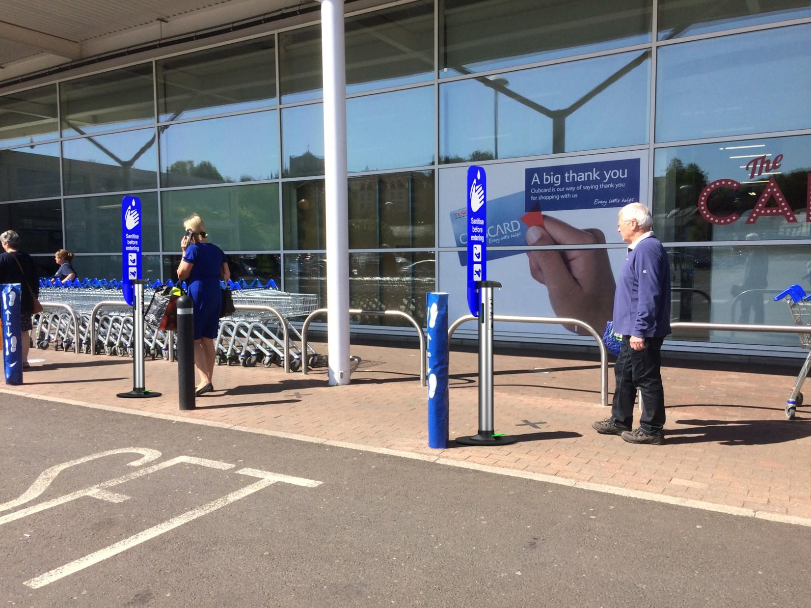 sanitiser dispenser supermarket