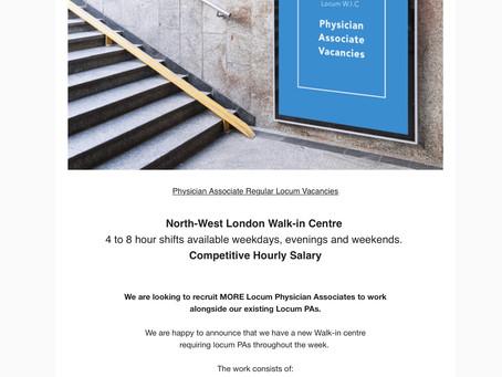 Walk In Centre Vacancies. NW London.