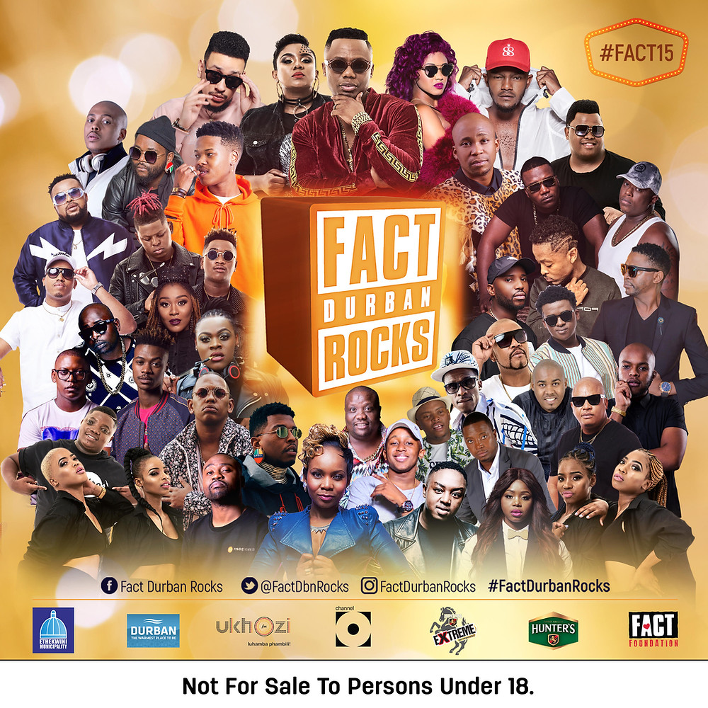 Fact Durban Rocks 2018 Artist Line up poster