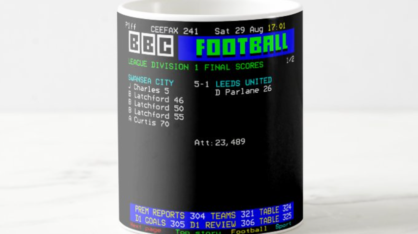 Teletext Mug Swans 5-1 Leeds 1981