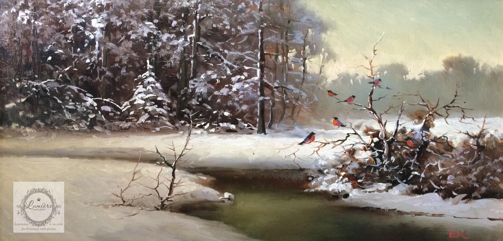 Евгений Каковкин - снегири зимой 40х20 2014.jpg