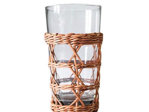 Rattan Cage Highball Glass- S/4