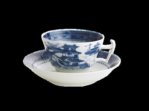 Blue Canton Tea cups & Saucer- S/4