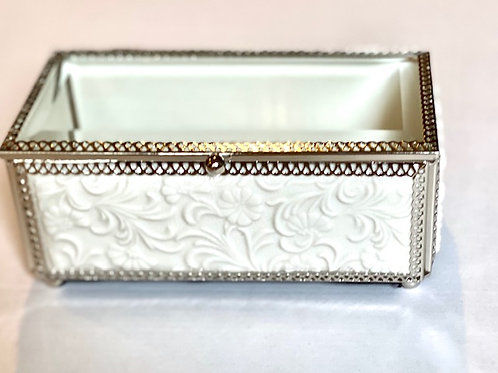 Ornate Jewelry Glass Box White Floral