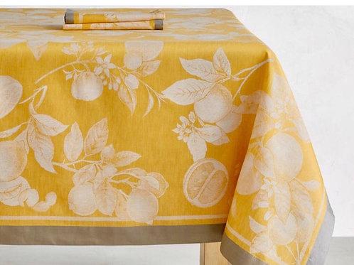 Citron with Gray Border Tablecloth