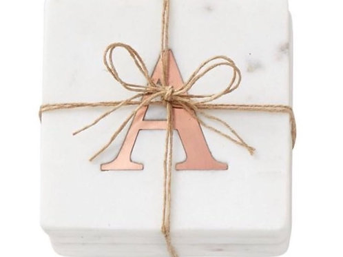 Initial Marble & Copper Coaster - Set/4