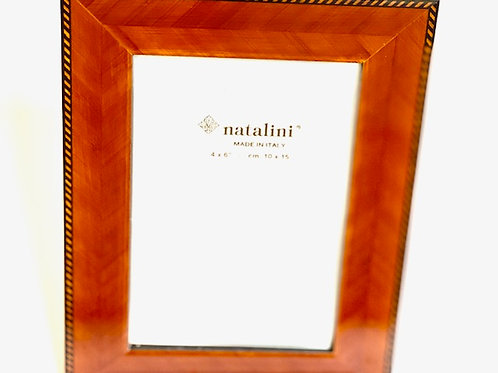 Natalini Wood Marquetry w/Border Picture Frame -  4 x 6