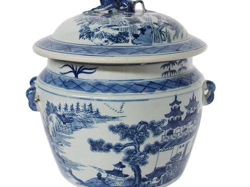 Landscape Motif Rice Jar