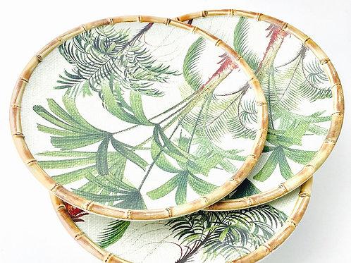 Melamine Bamboo Dinner Plates - Set/6