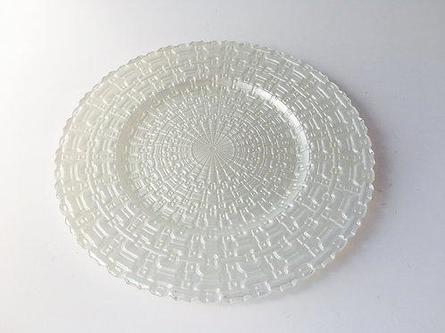 White Glass Kronos Charger Plate - Set/4