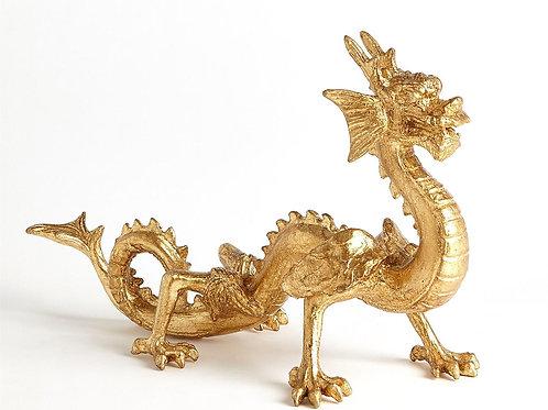 Gold Standing Dragon Sculpture
